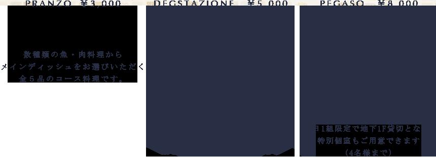 PRANZO ¥3,000 Antipasto 旬の魚介と季節野菜をたくさん盛り込んだ前菜 Primo piatto 食感や味わいの全く異なる2種類のパスタを日替わりで Secondo piatto 魚料理又は肉料理をお選びいただきます Dolce caffe ドルチェ・カフェ DEGSTAZIONE ¥5,000(前日までの予約制にて承ります)ディナーメニューから今日のシェフのおすすめ料理をご用意させていただく全6品のおまかせコースです※ご希望で2F個室のご利用も可能でございます PEGASO ¥8,000 1日1組限定4名様まで(前日までの予約制にて承ります)ディナーのDegstazioneコース全7品をランチでお楽しみいただけます 地下1階ワンフロア貸切となる特別個室をご用意いたします